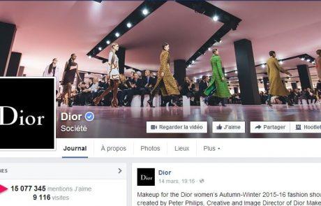 Dior investit dans la publicité digitale sur Facebook